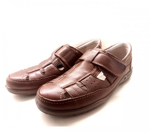 Sandalias Hombre Cierre Velcro Color Marrón